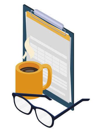 checklist clipboard with coffee cup and money vector illustration design