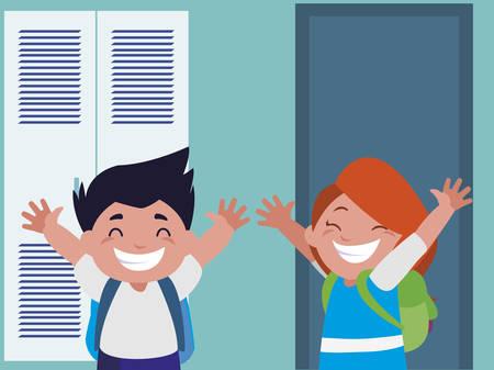 happy little school kids in the school corridor vector illustration design Vector Illustration