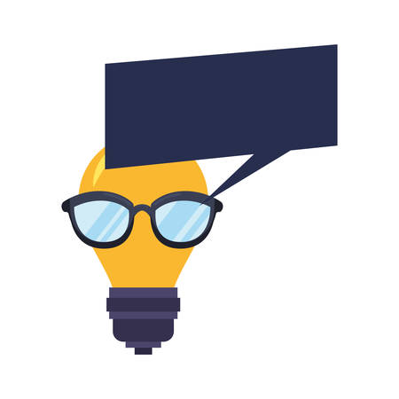 bulb light with eyeglasses speech bubble vector illustration