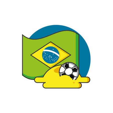 flag of brazil with soccer ball vector illustration design
