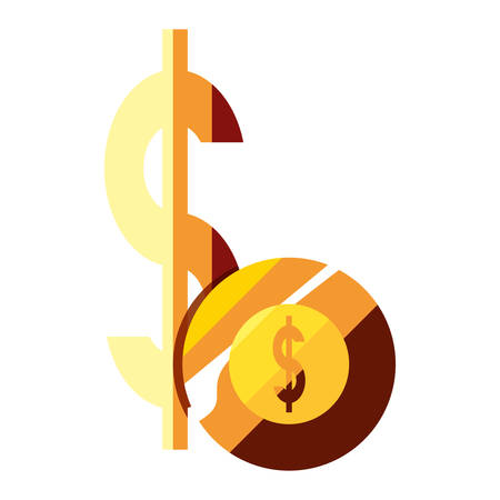 money coin dollar symbol on white background vector illustration