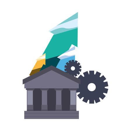bank saving finance up arrows gears vector illustration