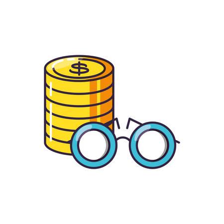 optical eyeglasses with pile coins vector illustration design