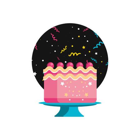 sweet cake of birthday vector illustration design