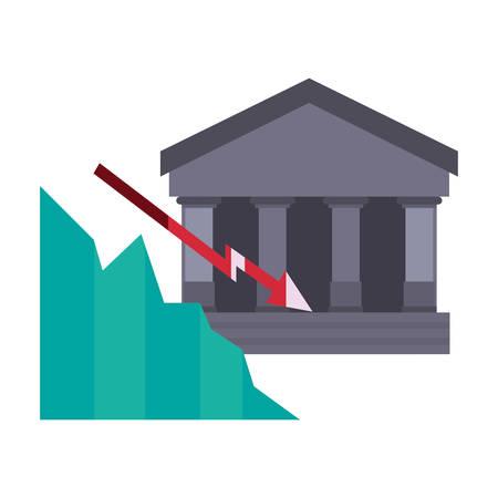 bank chart decrease finance on white background vector illustration