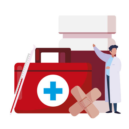 male doctor professional with medical icons vector illustration design 일러스트