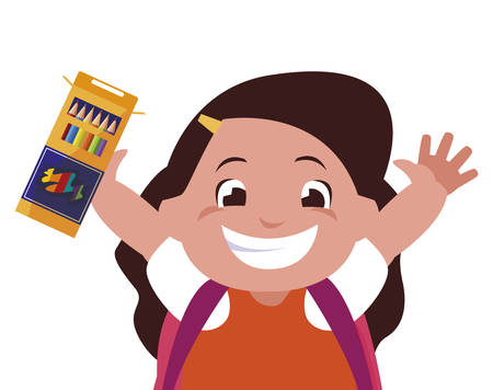 happy little schoolgirl with colors box character vector illustration design