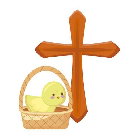 cross catholic with cute chicken in basket wicker vector illustration design Illustration