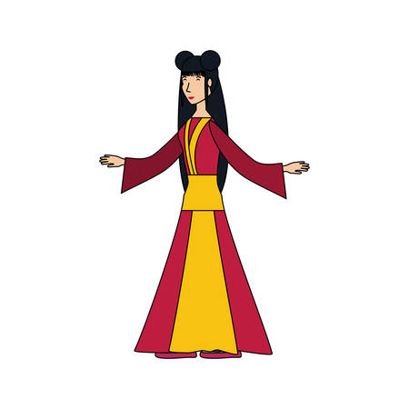 geisha woman with open arms avatar character vector illustration design