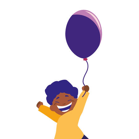 smiling boy holding balloon white background vector illustration