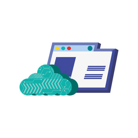 template web page with cloud computing vector illustration design