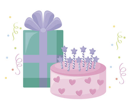 sweet cake with candles and gift box vector illustration design Çizim