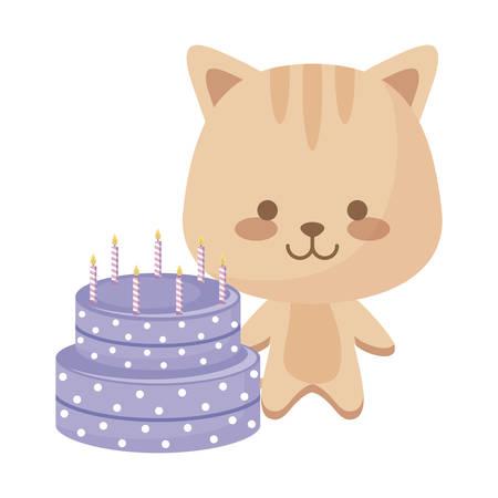 cute cat animal with cake birthday vector illustration design