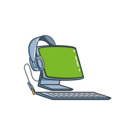 desktop computer with headphone vector illustration design Illustration