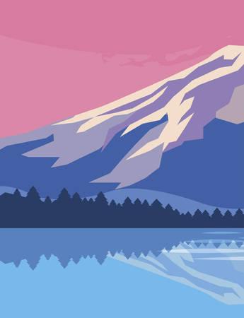 Montañas con bosque y lago snowscape escena diseño ilustración vectorial Ilustración de vector