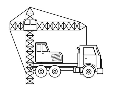 under construction crane truck icon vector illustration design