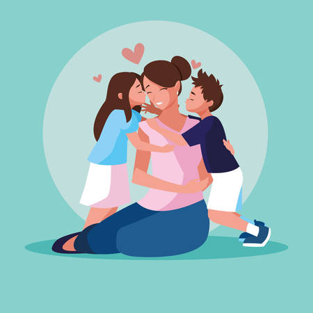 mother with cute children avatar character vector illustration design Illustration