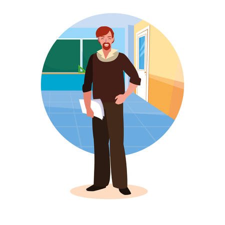 teacher man with frame of classroom vector illustration design Illustration