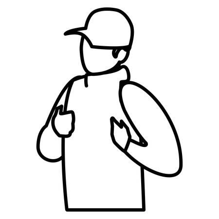 adventurous man with cap avatar character vector illustration design