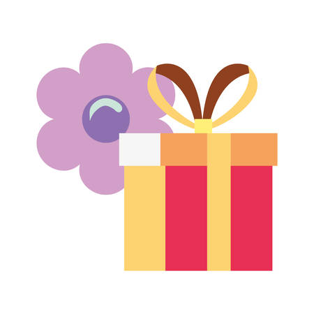 gift box flower white background vector illustration Vetores
