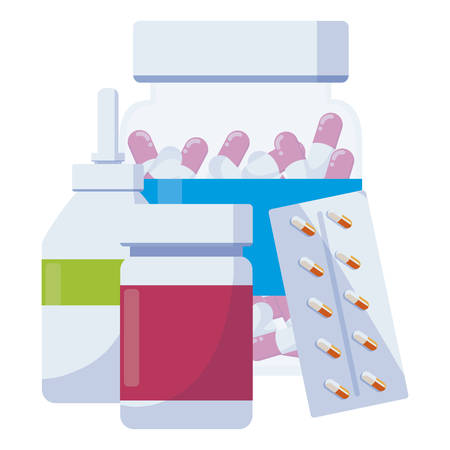 medicine set drugs icons vector illustration design Illustration