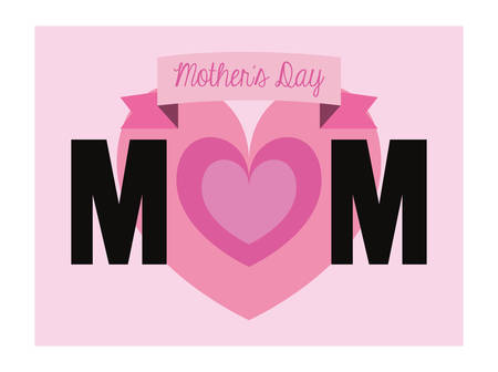 happy mothers day mom heart banner vector illustration Stock Illustratie