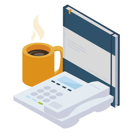 office notepad with telephone vector illustration design