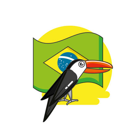 flag of brazil with toucan animal vector illustration design