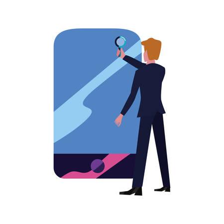 businessman with magnifier cellphone vector illustration design