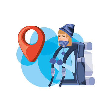 traveler woman with travel bag and pin location vector illustration design