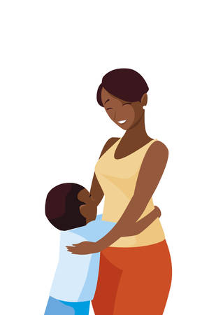 beautiful black mother  with little son characters vector illustration design Illustration