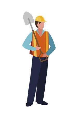 builder construction worker with shovel vector illustration design
