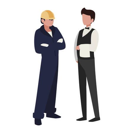couple de travailleurs professionnels caractères vector illustration design
