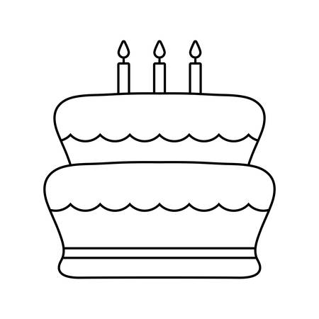 sweet cake of birthday isolated icon vector illustration design Çizim