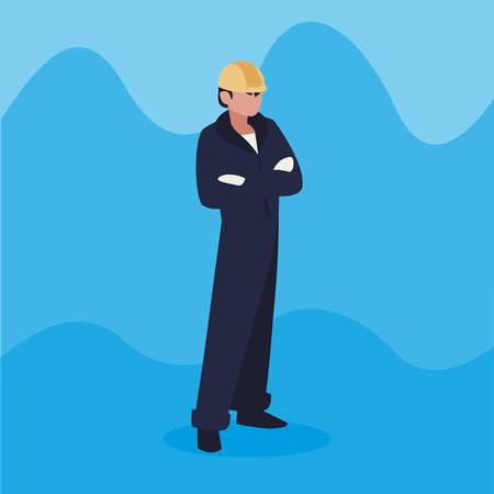 mechanic worker avatar character vector illustration design