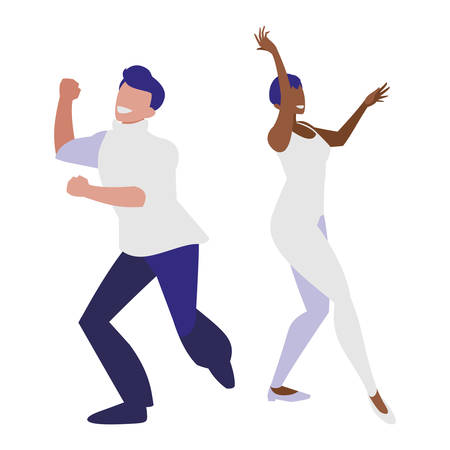 young interracial couple dancing characters vector illustration design  イラスト・ベクター素材