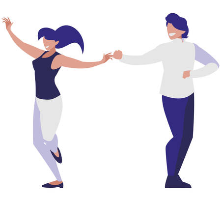 young couple dancing characters vector illustration design Illustration