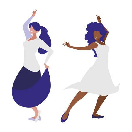 Jóvenes muchachas interraciales bailando personajes, diseño de ilustraciones vectoriales