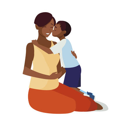 beautiful black mother  with little son characters vector illustration design Ilustração