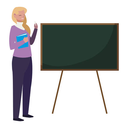 female teacher with textbook and chalkboard vector illustration design 일러스트