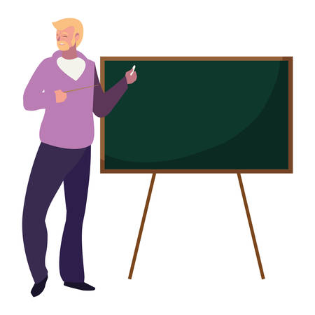 teacher male with chalkboard character vector illustration design Vectores