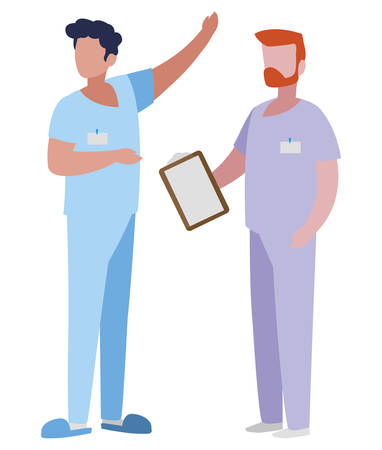 male medicine workers with uniforms vector illustration design