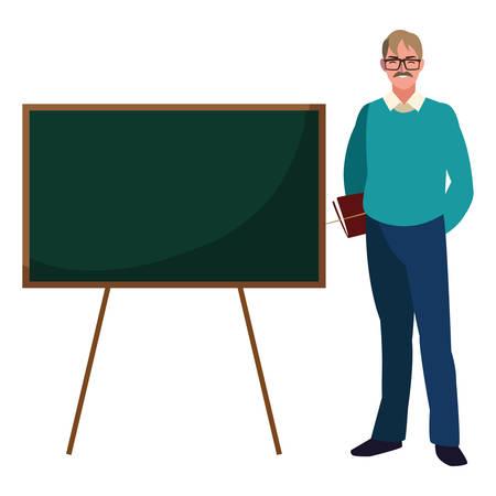 enseignant mâle avec des documents et tableau de conception d'illustration vectorielle