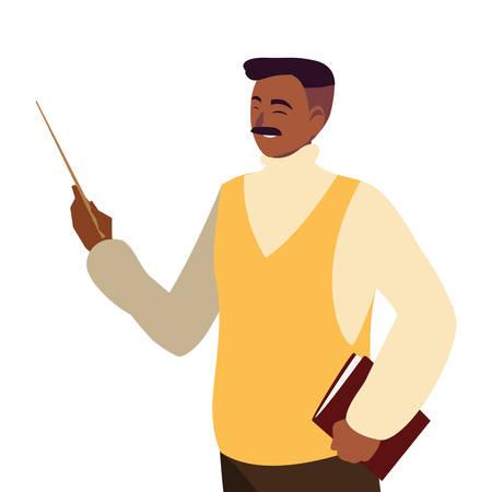 black teacher male avatar character vector illustration design