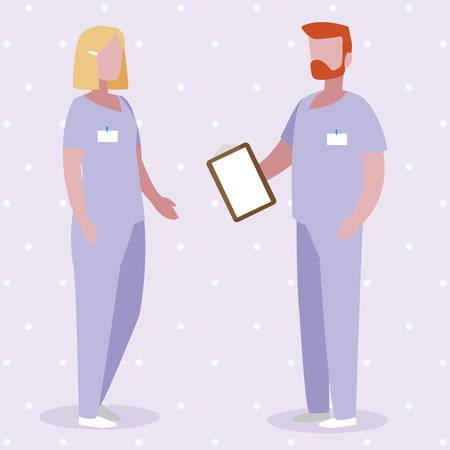 couple medicine workers with uniform characters vector illustration design Ilustração