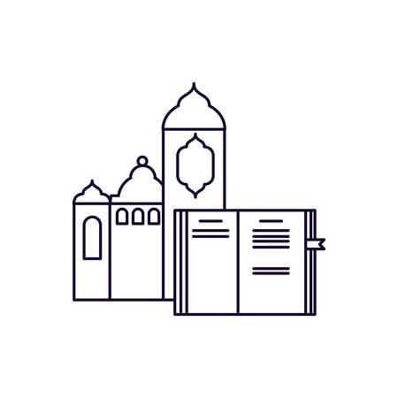 koran book with mosque castle ramadan kareem vector illustration design Imagens - 121279641