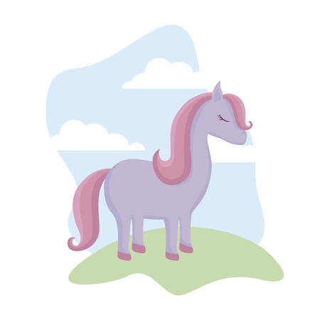 cute unicorn animal in landscape vector illustration design