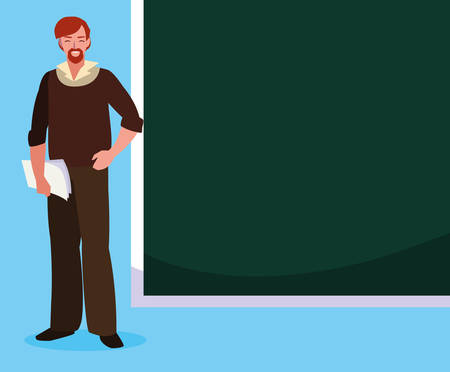 teacher male with documents and chalkboard vector illustration design Illustration