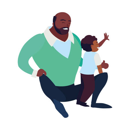 black father with son characters vector illustration design