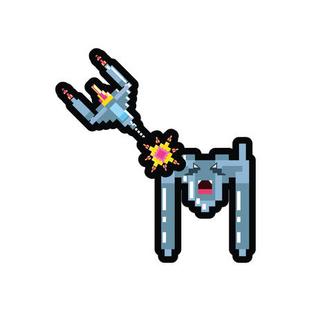 video game spaceship flying pixelated vector illustration design